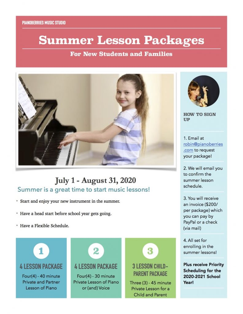 summer piano lessons, summer voice lessons